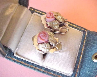 Pretty and Dainty Little Faux Coral Rose Earrings of 12K Rose Gold Fill