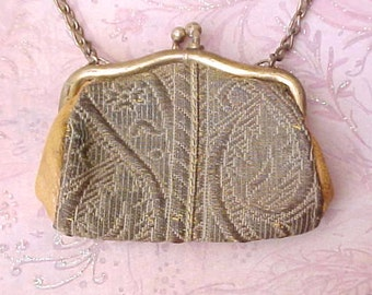 Darling Edwardian Era Dance Coin Purse of Metallic Brocade