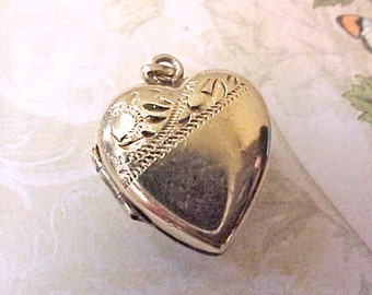 Pretty Gold Plated Over Silver English Puffy Heart Locket