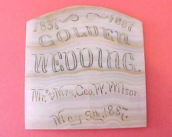 Most Unusual Antique Stone Plaque Celebrating 50th Wedding Anniversary-1837-1887