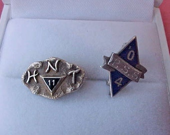 Two Handsome Little Enameled Fraternal Order Pins Circa 1900