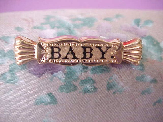 """Precious Victorian Rose Gold Filled Brooch Enameled """"Baby"""""""