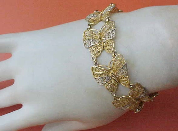 Reserved for Kate: Lovely and Dainty Art Deco Era German Sterling Silver Filigree Butterfly Bracelet