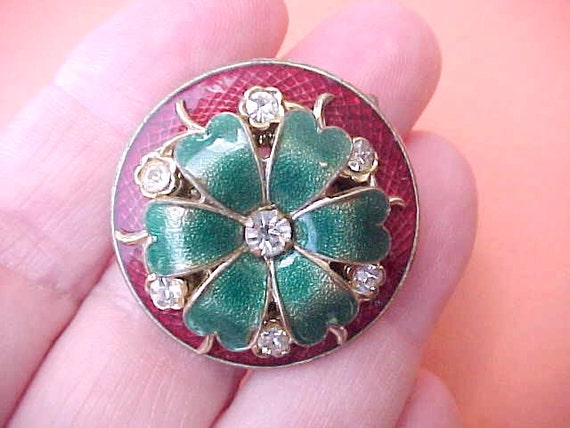 Beautiful Guilloche Enameled and Jeweled Vintage Flower Brooch