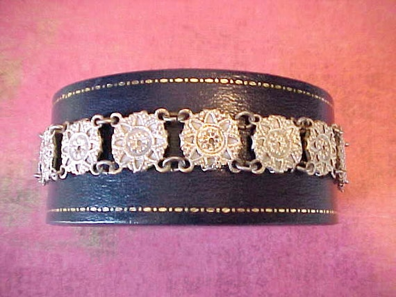 Lovely and Unusual Vintage Silver Bracelet Over Mother-of-Pearl Links
