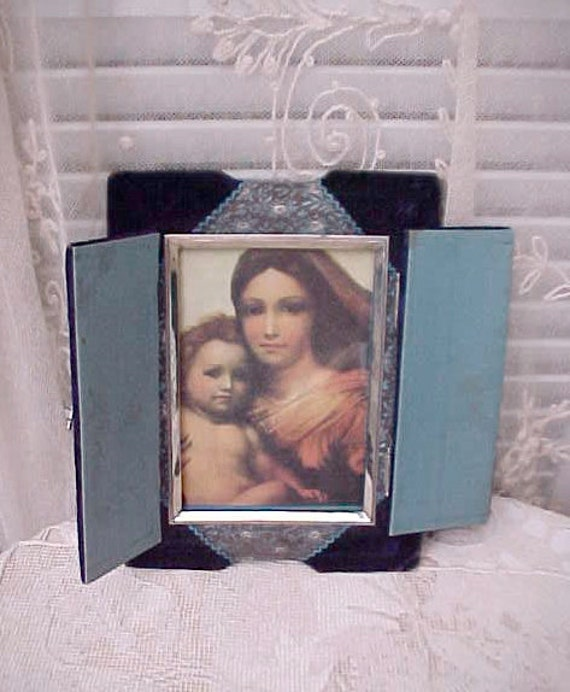 Sale: and Unusual Victorian Renaissance Styled Velvet Covered Picture Frame with Little Doors