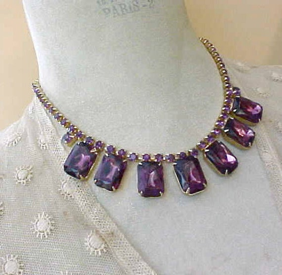Gorgeous Vintage 1950's Rhinestone Necklace with Large Royal Purple Stones