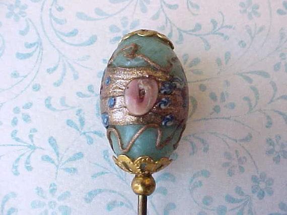 Beautiful Italian Glass Wedding Cake Bead Hat Pin in Aqua and Pink