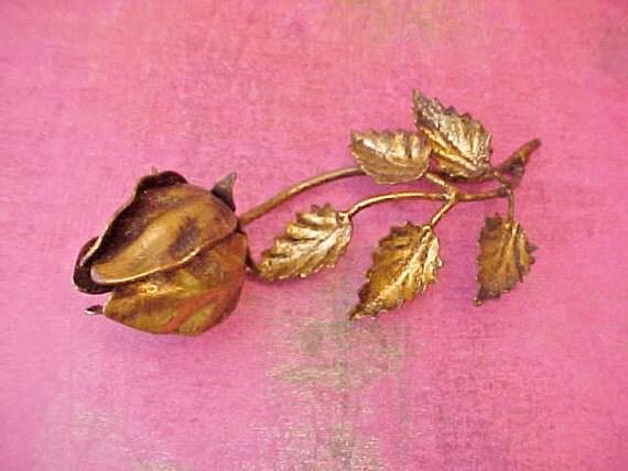 Lovely Vintage Italian Florentine Metal Rose