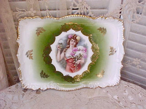 Reserved: Lovely German Porcelain Art Nouveau Era Vanity Tray with Pretty Lady