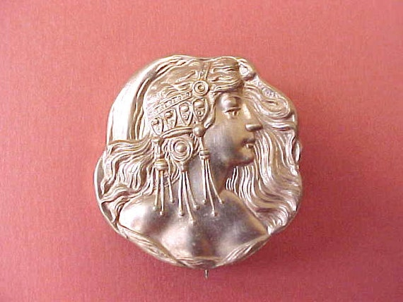 Beautiful Stamped Brass Brooch with Art Nouveau Lady With Mucha Styled Headdress