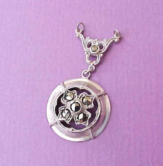 Beautiful Art Nouveau Era Sterling Silver Pendant Set with Marcasites