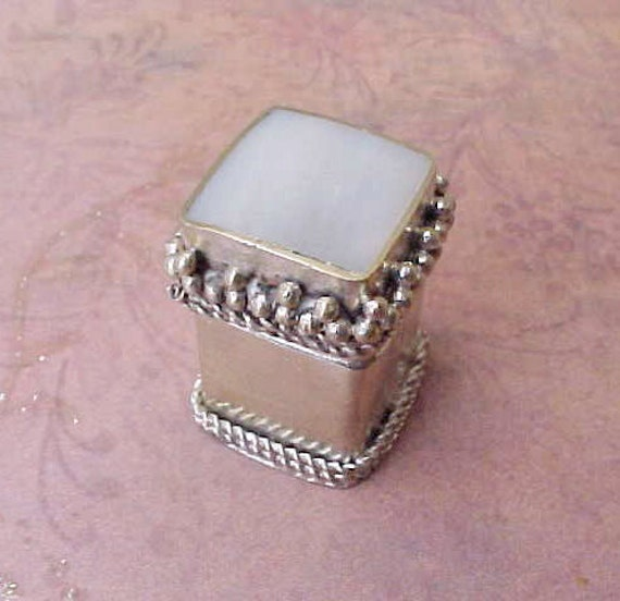 Tiny and Darling Trinket or Pill Box with Mother-of-Pearl Set in Lid