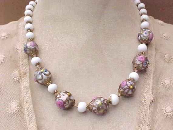 Beautiful Vintage Necklace of Italian Wedding Cake Glass Beads
