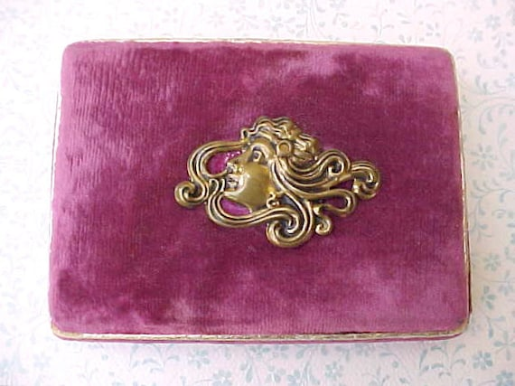 Beautiful and Unusual Art Nouveau Era Velvet Gift Box for Jewelry