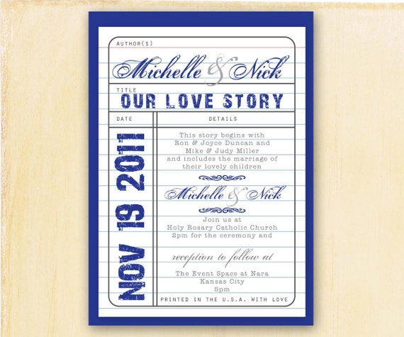 Library Card UNIQUE WEDDING INVITATION, Old School, Library Card Catalog, Our Love Story Title, Details, Authors, Typewriter Font, Script