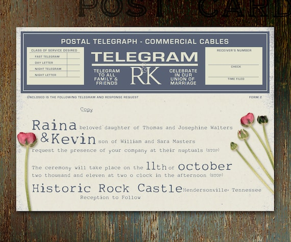 Vintage Telegram UNIQUE WEDDING INVITATION, With Stems and Red Rose Buds, Speckled Ivory Paper, Rustic Blue Ink, Postal, Commercial Cables