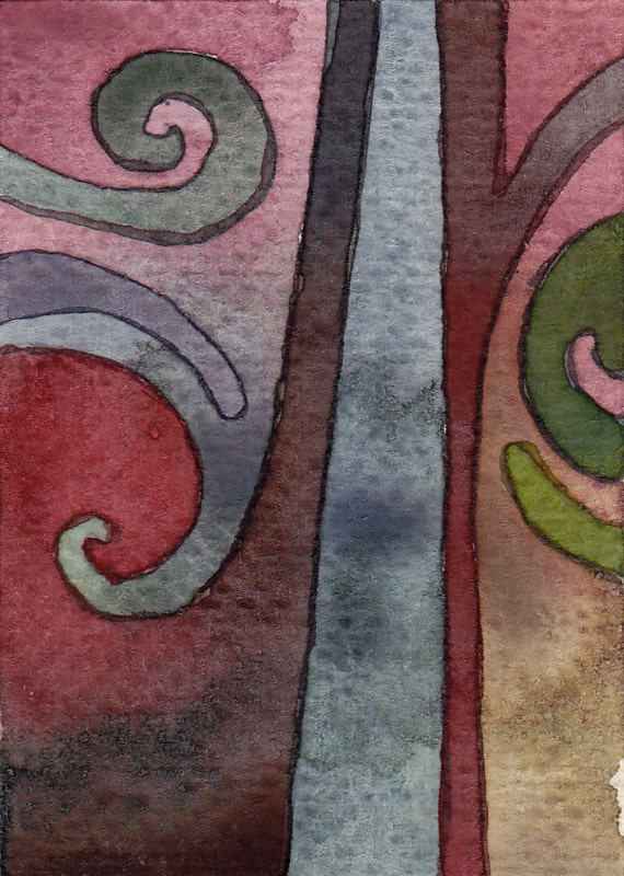 Small watercolor painting.  ACEO.  Not a print.  Lines and curves.