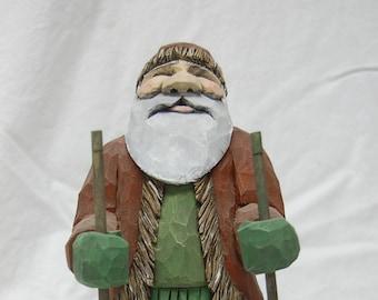 Hand Carved Wood Snowshoe Santa