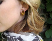 Vintage Amber topaz clip earrings / cocktail marquise earrings / TRIUMPHANT
