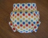 Polar Fleece Diaper Soakers in Rainbow Dots Print
