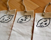 Three Bookmarks with Happy Lemons Inked on Canvas with Jute Twine String by Young Artist