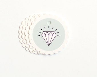 """Gift Tags """"Diamonds are a Girls' best Friend"""" (Set of 4)"""