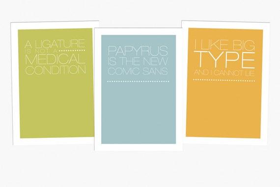 """3 Postcards """"Typo-Love"""""""