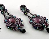 "SALE. Soutache earrings ""Queen of the evening"""