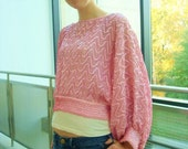 Vintage Pink Sequin Dolman Sleeve Top Small