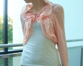 Pink Ruffle Jacket Blouse 1960s 1970s Small
