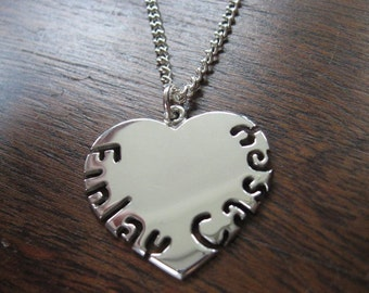Heart Names Silver Pendant Necklace
