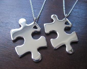 Two Puzzle Heart Pendant Necklaces