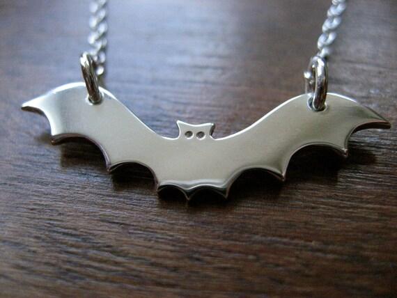 Silver Bat Pendant Necklace