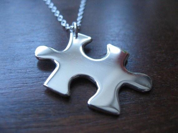 REDUCED TO CLEAR Silver Puzzle Piece Pendant Necklace