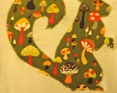 Woodland Mushroom Appliqué Squirrel Bodysuit - Size 9 Months Onesie