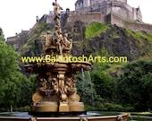 Edinburgh Castle - Edinburgh Scotland - 5x7 colored photograph matted to 8x10