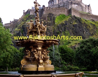 Edinburgh Castle - Edinburgh Scotland - 5x7 colored photograph matted to 8x10