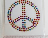 Colored Peace Sign- Bling- Iron On Transfer