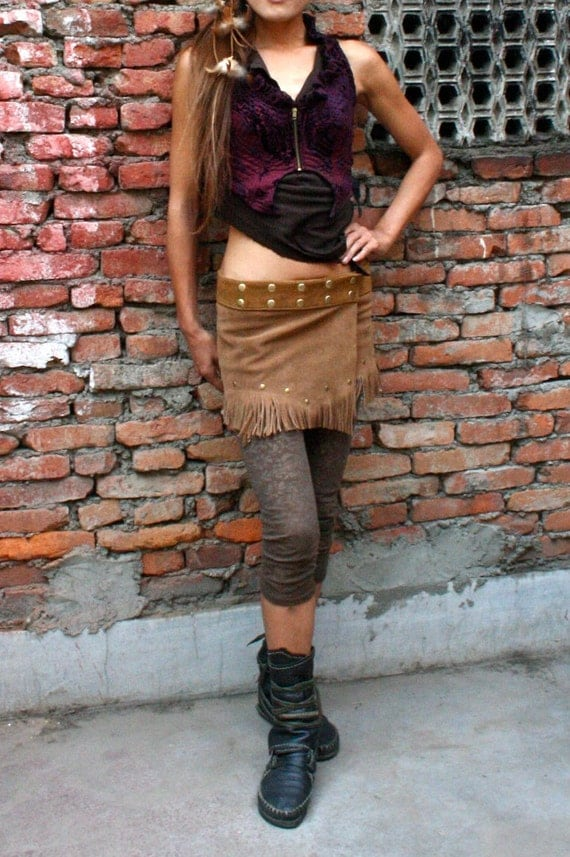 Fringed Suede Leather Super Mini Wrap Skirt - Camel Brown Color, Hippie, Psy Ethnic Style