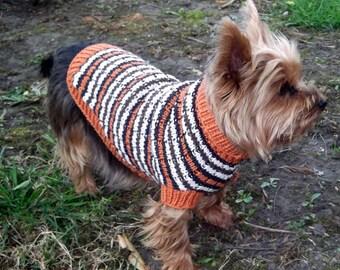 100% merino wool- Textured Rib Dog Sweater, Striped Dog Coat - hand knit sweater - Jack Russell - Yorkie- Westie - Cairn