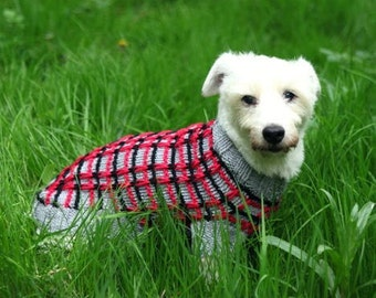 100% merino wool - textured hand knit dog sweater, dog jumper - Westie Coat, Yorkie, Jack Russell, hand knit in pure new wool - custom made