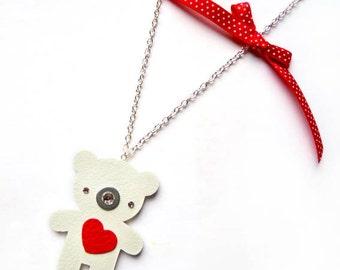 TEDDY BEAR NECKLACE with polka dot bow