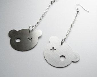TEDDY BEAR steel EARRINGS on chain