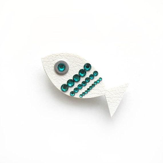 WHITE FISH BROOCH