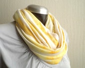 Circle  scarf,cowl, washed marigold yellow  jersey knit, light and cozy,EXTRA WIDE.