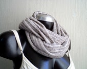 On Sale. UNISEx. Flecked grey Infinity scarf,cowl, jersey knit. EXTRA WIDE.