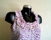 Tank, shirt, ruffle neckline, femenine and chic, pink and purple polka dots over white . Size S,Ready To Ship.