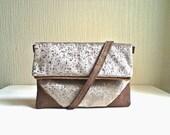 Vegan Foldover Clutch, handbag,satchel, Sand color velvet and gold drops,detachable strap.