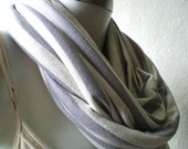 Infinity scarf, cowl, scarf, pale grey and white striped cotton jersey, light and cozy, EXTRA WIDE.